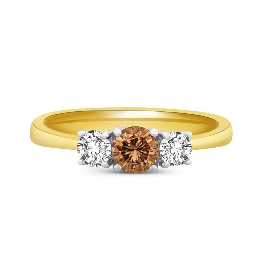 three stone chocolate diamond ring