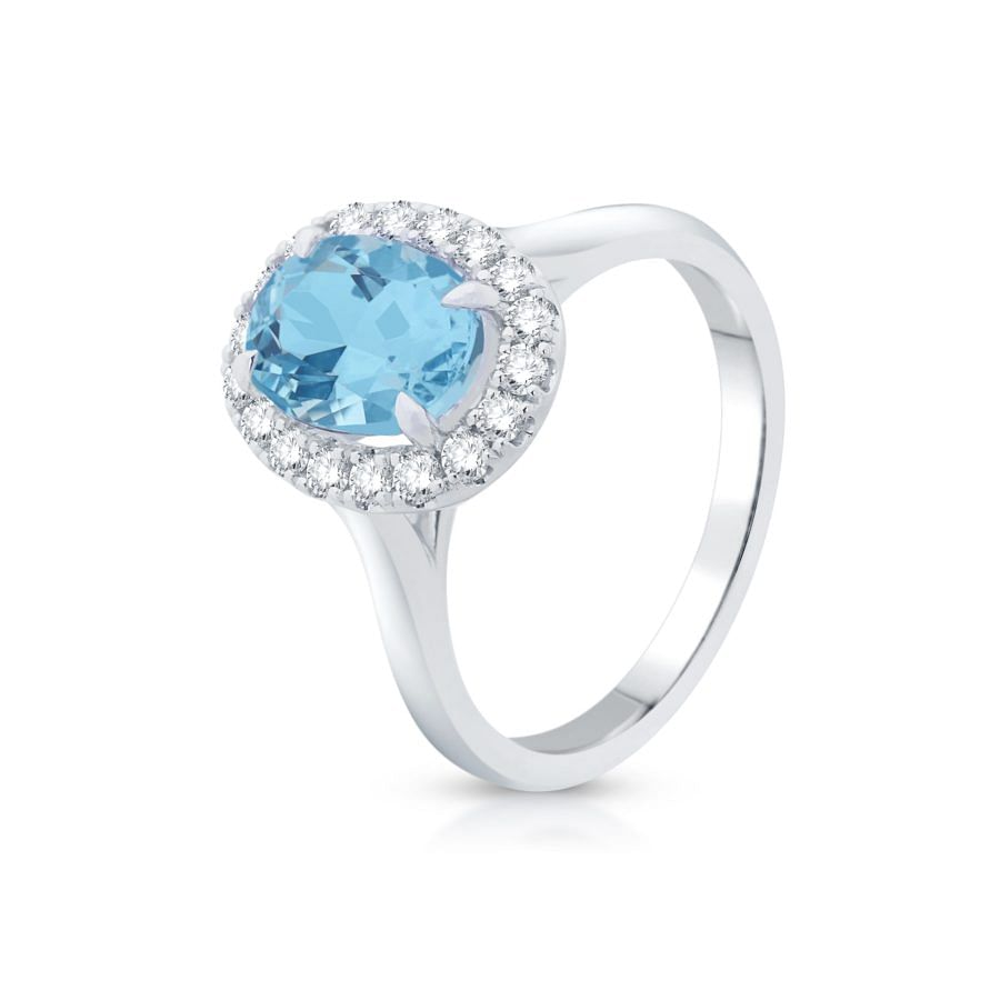 oval aquamarine and diamond ring