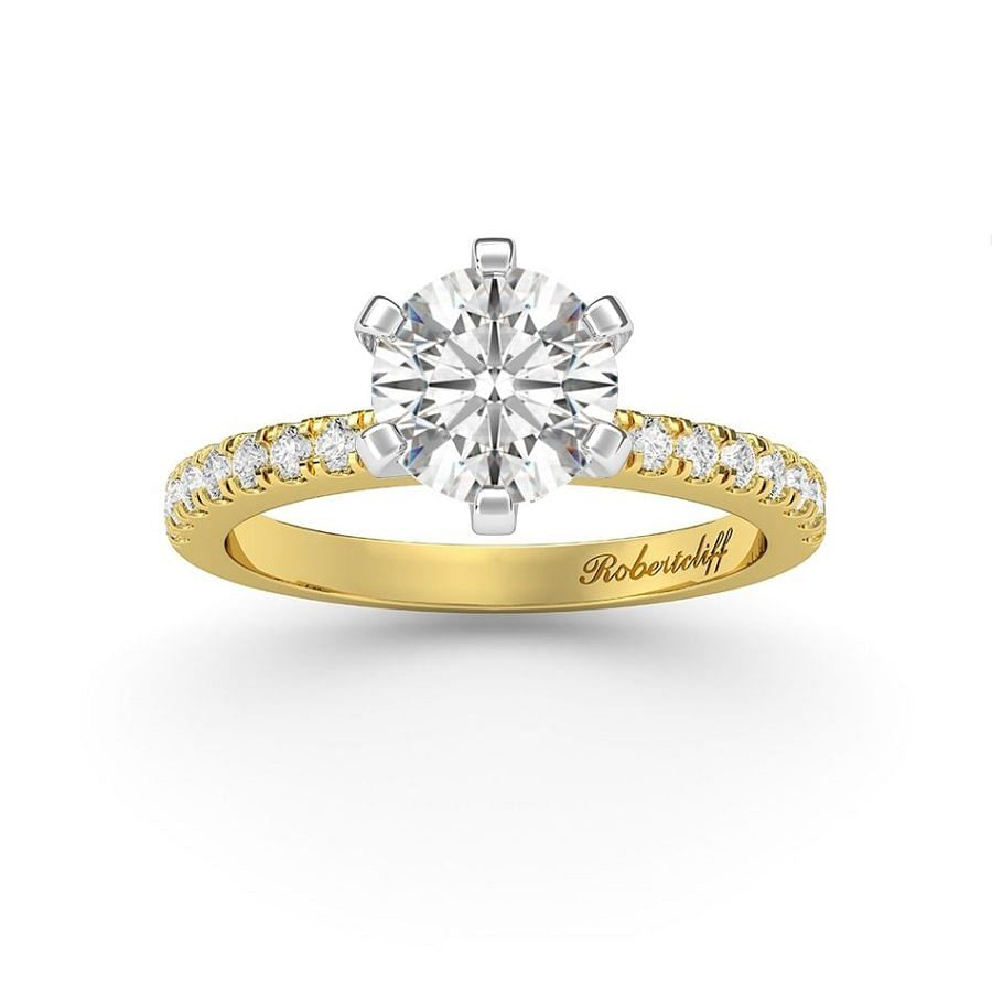 6 claw yellow gold engagement ring