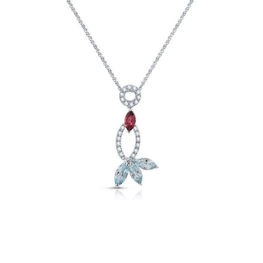 diamond, topaz and tourmaline pendant