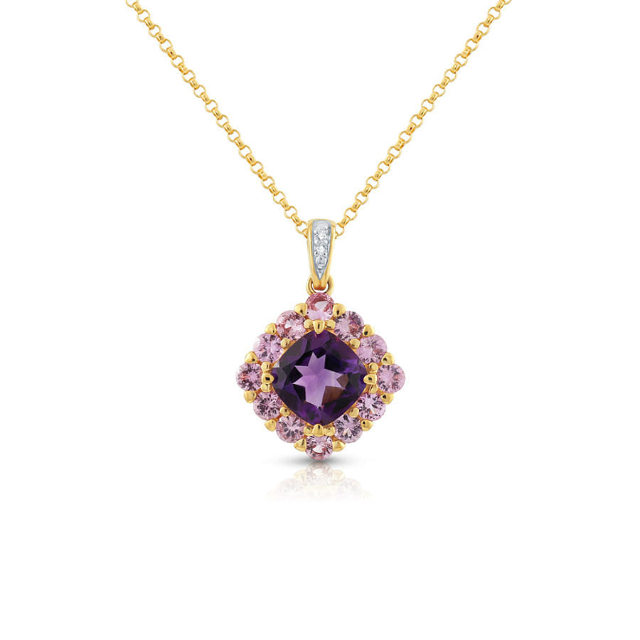 amethyst and pink sapphire pendant